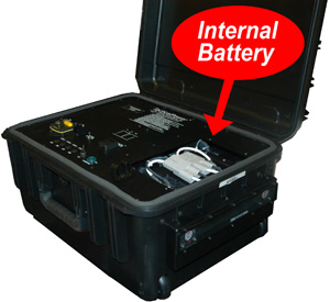 Tactical case with internal battery module